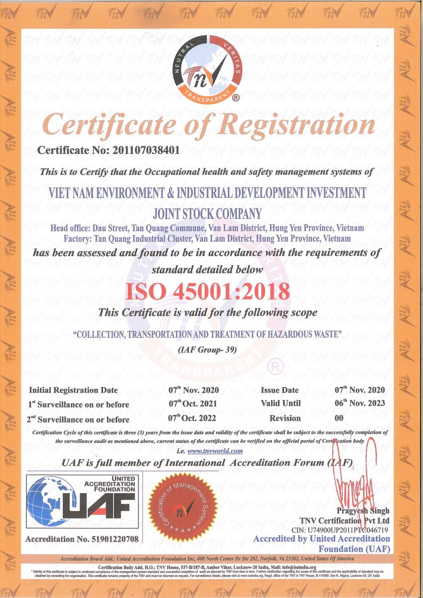 Chứng chỉ ISO 45001:2018