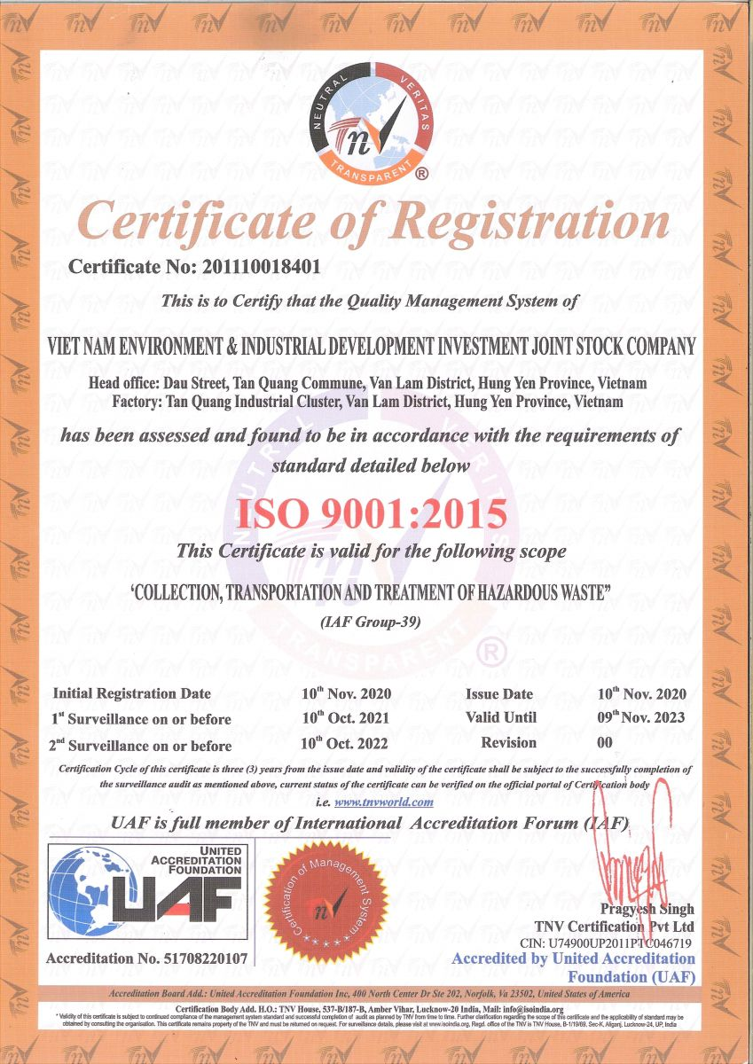 Chứng chỉ ISO 9001:2008
